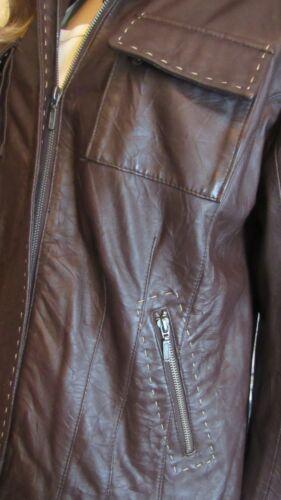 Chico's 2 298 Veste devant clair froissé Nwot Lg glissière cuir en avec brun fermeture marron à 17zTf6q1