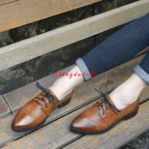 Retro-Leather-Lace-Up-Wingtip-Formal-Dress-Oxford-Womens-Shoes-New