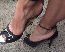 Charles Albert Black Peep Toe Satin Stiletto Heels Gold Accents Womens 8.5