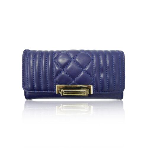 Ladies Designer In Finta Pelle Trapuntata Fold Fibbia Lungo Borsetta Portafoglio