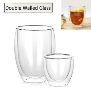 Set of 2 Strong Clear Glass Double Wall Coffee Mug Tea Espresso Cup 10 oz 854657007055 | eBay
