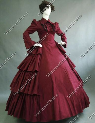 Victorian Costumes: Dresses, Saloon Girls, Southern Belle, Witch    Victorian Gothic Period Dress Gown Reenactment Steampunk Theater Clothing 007 $131.12 AT vintagedancer.com