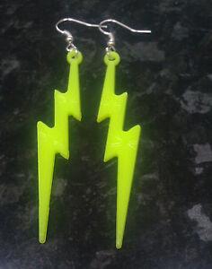 Novelty Neon Yellow Lightning Bolt Dangle Earrings Retro #0: s l300