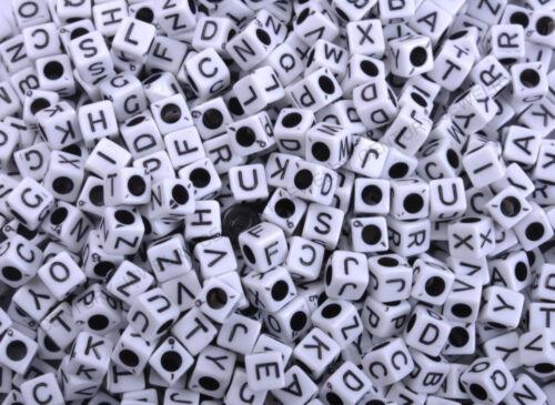 "100Pcs White Square Alphabet Letter /""A-Z/"" Acrylic Cube Plastic Charms Beads 6MM"