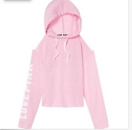 VICTORIA'S SECRET  PINK  COLD SHOULDER CROPPED HOODIEBABY PINKSZ. L