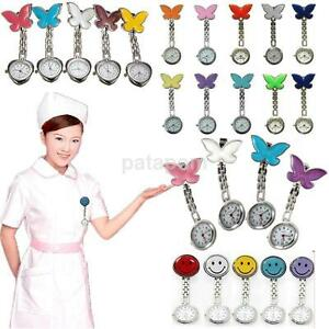 Nurse-Clip-on-Brooch-Pendant-Quartz-Hanging-Butterfly-Smile-Face-Pocket-Watches