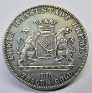 1865b Deutsch Bremen Taler Gold 2. Deutsche Schützenfest Km #248 Hochgradige