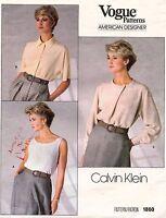 1980's VTG VOGUE Misses' Top & Blouse Calvin Klein Pattern 1860  8 UNCUT