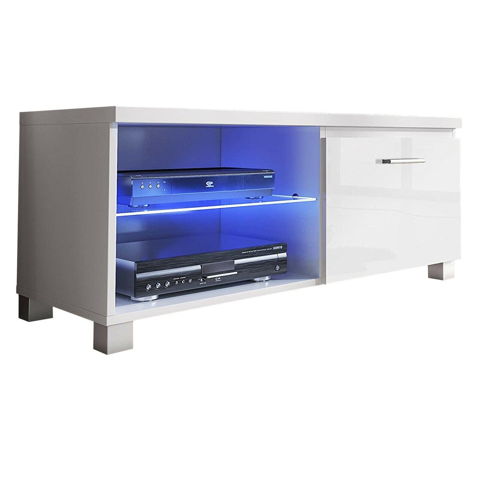 Módulo salón comedor TV, modulo con Leds, color Blanco y Blanco Lacado...