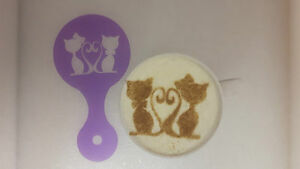 Coffee Cappuccino Stencils Reusable Present Cafe Food & Beverages 2 X Cats & Heart Face Coffee Cup