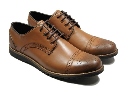 Lucini Mens Leather Brogue Designer Lace Up Boots Casual Wedding Work Shoes