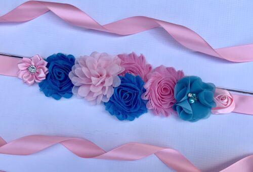 Pink and Blue Maternity Sash Belt //Baby Showers Vintage Belt //Flower Girl Sash