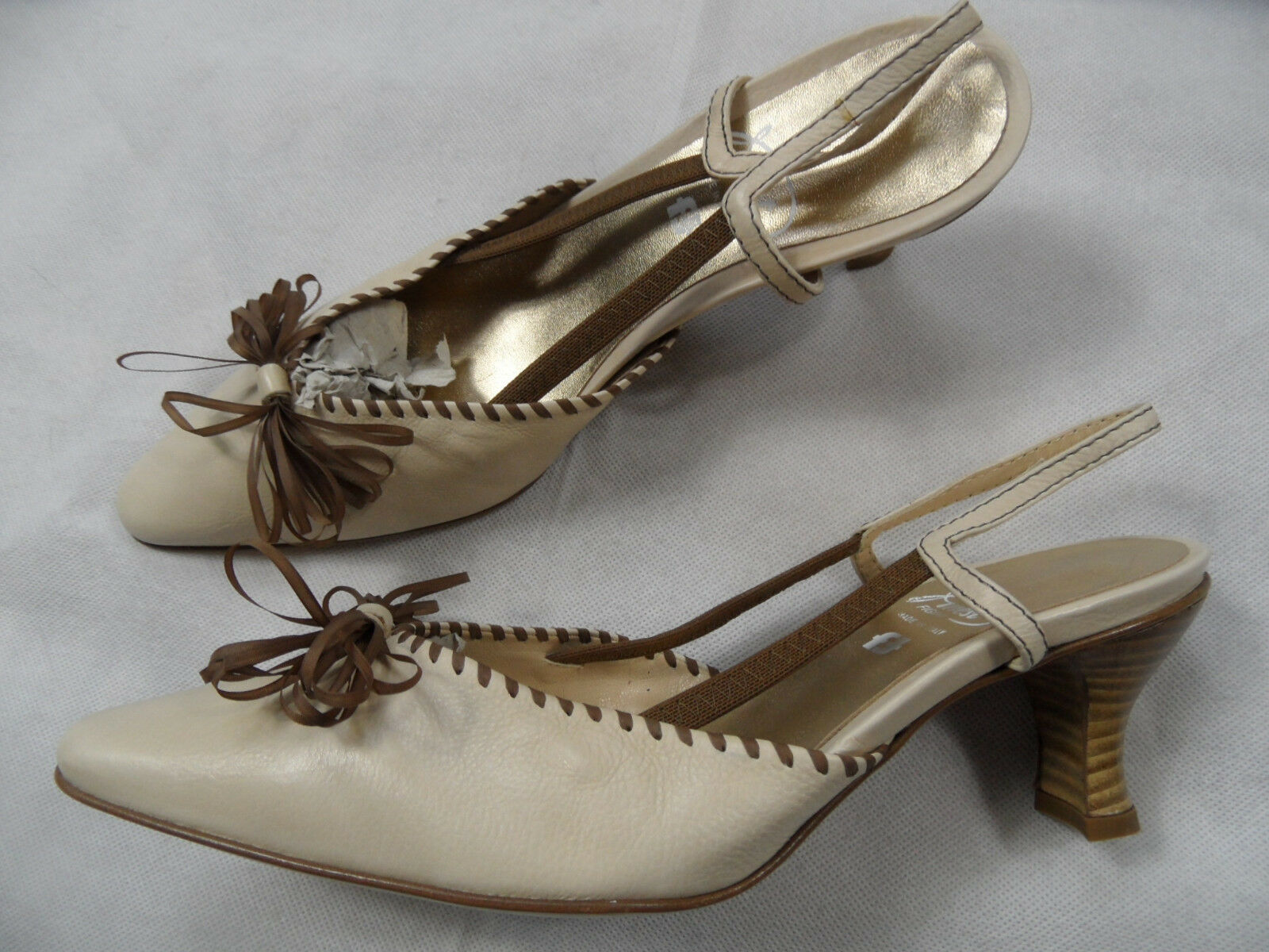 Finest Figini Varese belle Slingpumps boucle beige clair Taille 39 1 2 neuf kas918