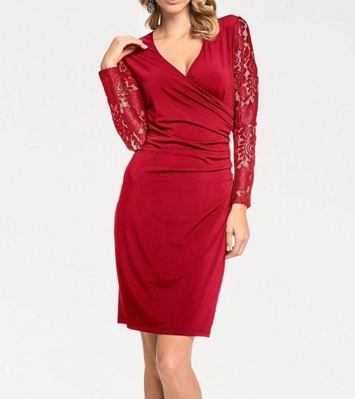 Ashley Brooke Damen Designer-Wickelkleid, rot