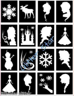 16 x Frozen Snow queen ice princess style Glitter Tattoo stencils