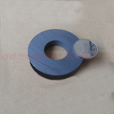 Dia:60mm Thick:10mm Hole:32mm Round Disc Magnet Ferrite Y30BH Black Magnets