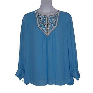 Bob-Mackie-Crinkle-Chiffon-Embroidered-Blue-Spring-Top-Womens-Plus-Size-3X