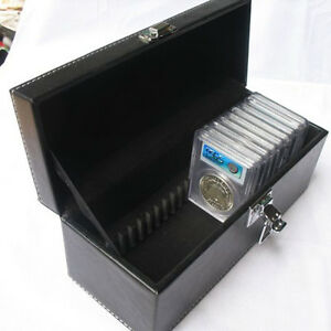 Storage-Box-Case-Black-PU-Leather-for-20PCS-PCGS-NGC-Slabs-Coin-Holders