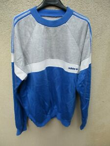 Sweat-ADIDAS-vintage-annees-80-shirt-bleu-trikot-Ventex-made-in-France-186-XL