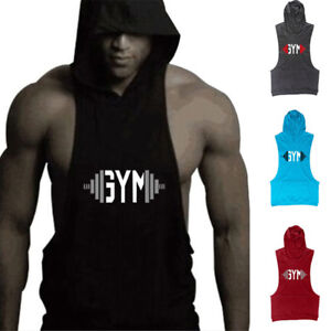 5f12efd2195c13 Men s Gym Sleeveless Fitness Muscle Cotton Hoodie Workout Stringer ...