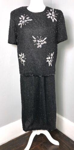 Medium M/L Vintage 2 Piece Jewel Queen Silk Beaded