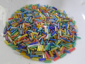 BUGLE-BEADS-6mm-Assorted-Mix-Iridescent-AB-50g-Glass-Tube-Long-Hollow-Jewellery