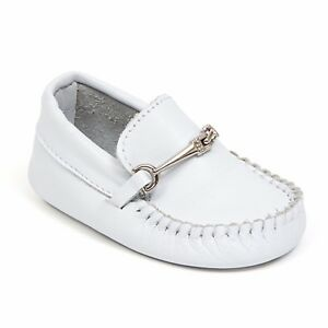 8e0da7fd9744 Baby Boy White Leather Loafers Slip on Shoes Infant Size 0 to 3 Soft ...