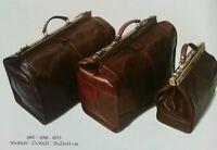 Leather Gladstone Metal Framed Travel Handbag Calf Skin