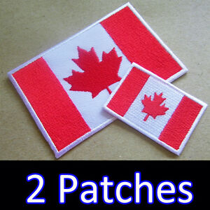 New CANADIAN FLAG PATCH Embroidered Iron On Canada Flag Patch With Lettering