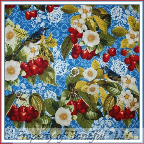 BonEful FABRIC FQ Cotton Quilt Yellow White Polka Dot Red Cherry Green Leaf Girl