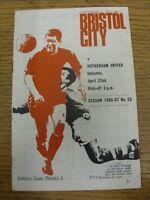 22/04/1966 Bristol City v Rotherhan United  (folded, corner torrn Off). Thanks f