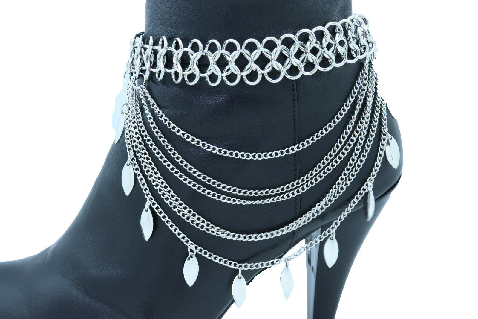 Women Silver Metal Chain Boot Bracelet Anklet Shoe Leaf Charm Holiday Collection