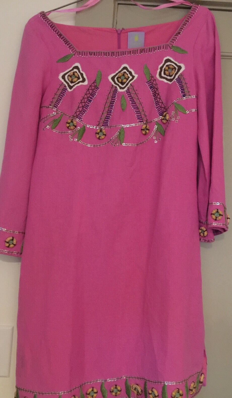 CJ LAING DRESS Pink Linen Blend Top Cover Up Size M Retail  465 Embroidery