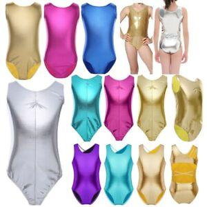 US-Girls-Kids-Gymnastics-Leotard-Ballet-Dance-Wear-Metallic-Bodysuit-Costume