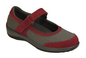 ORTHOFEET Orthotic #859 CHATTANOOGA MARY JANE Red-Grey Women's Size 8 Medium