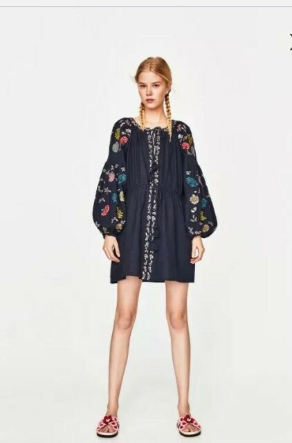bc73138da0 BNWT ZARA Navy Blue Embroidered Short Tunic Boho Dress with Tassels Size L
