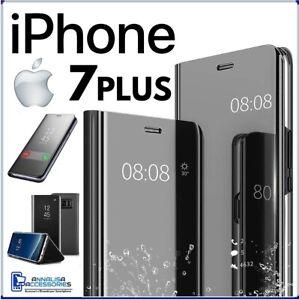 Dettagli su COVER FLIP PER APPLE IPHONE 7 PLUS CUSTODIA LIBRO NERA SPECCHIO CLEAR VIEW 360°