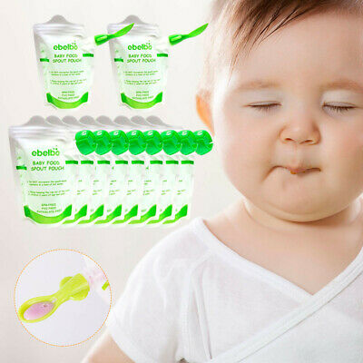 30-Pack 3.5OZ Refillable Reusable Baby Food Pouch Food Drinks BPA FREE