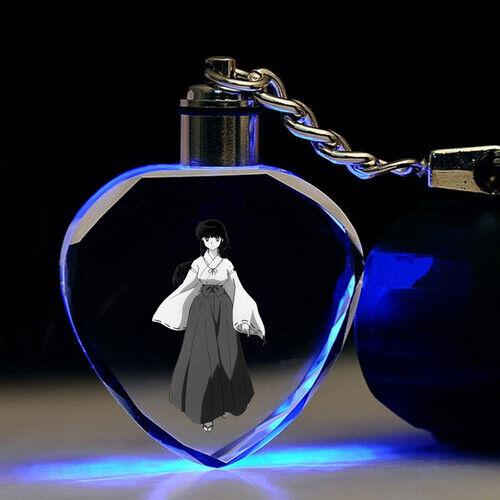 Inuyasha love Higurashi Crystal Key Chain LED light bling key chain gift anime