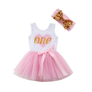 Baby 1st Birthday Floral Outfit Dress Heart  Tutus For Girls Cake Smash Dresses