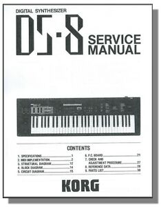 Korg ds-8 sm service manual download, schematics, eeprom, repair.