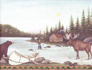 Moose Bear Fishing Cabin On Lake Wallpaper Border Wall Ebay