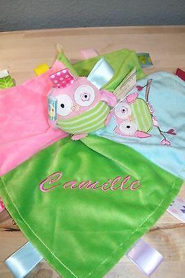 Owl Taggie Animal Blanket Personalized Security Blanket Baby Blankie