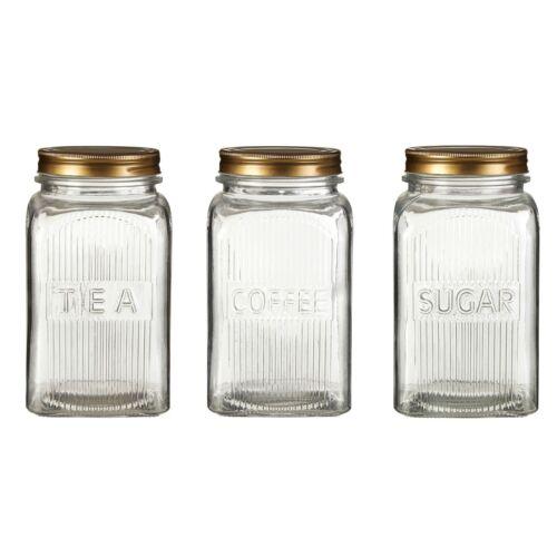 Embossed Glass Storage Food Preserve Preserving Jar Gold Finish Lid Kitchen Tidy