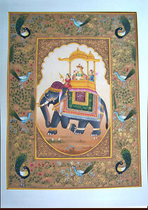MOGHUL-QUEEN-PROCESSION-SCENE-ON-ELEPHANT-MINIATURE-PAINTING-FROM-INDIA