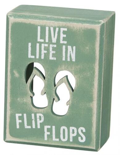 Flip Flops Primitives by Kathy Beach House Décor Box Sign 3 x 4-Inches
