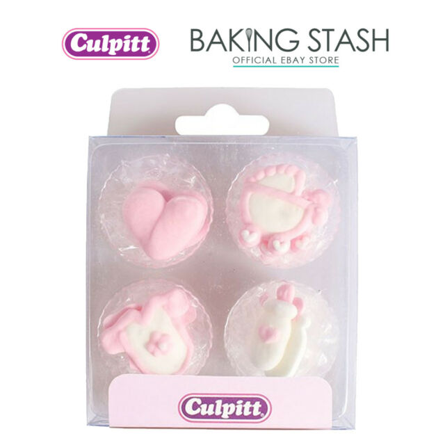 Culpitt 12 Edible Pink Baby Sugar Pipings Cake Decorations For Sale