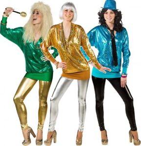 Ladies-80-039-s-Metallic-Long-Cold-Shoulder-Disco-Fun-Fancy-Dress-Costume-Outfit-Top