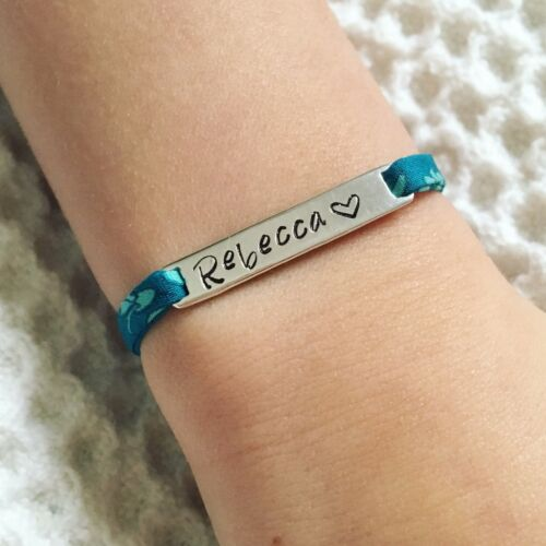 Sterling Silver 925 Liberty London Fabric Childs Personalised Name Bracelet
