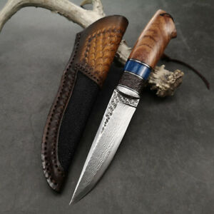 VG10-CORE-DAMASCUS-SURVIVAL-OUTDOOR-CAMPING-HUNTING-KNIFE-FIXED-BLADE-W-SHEATH